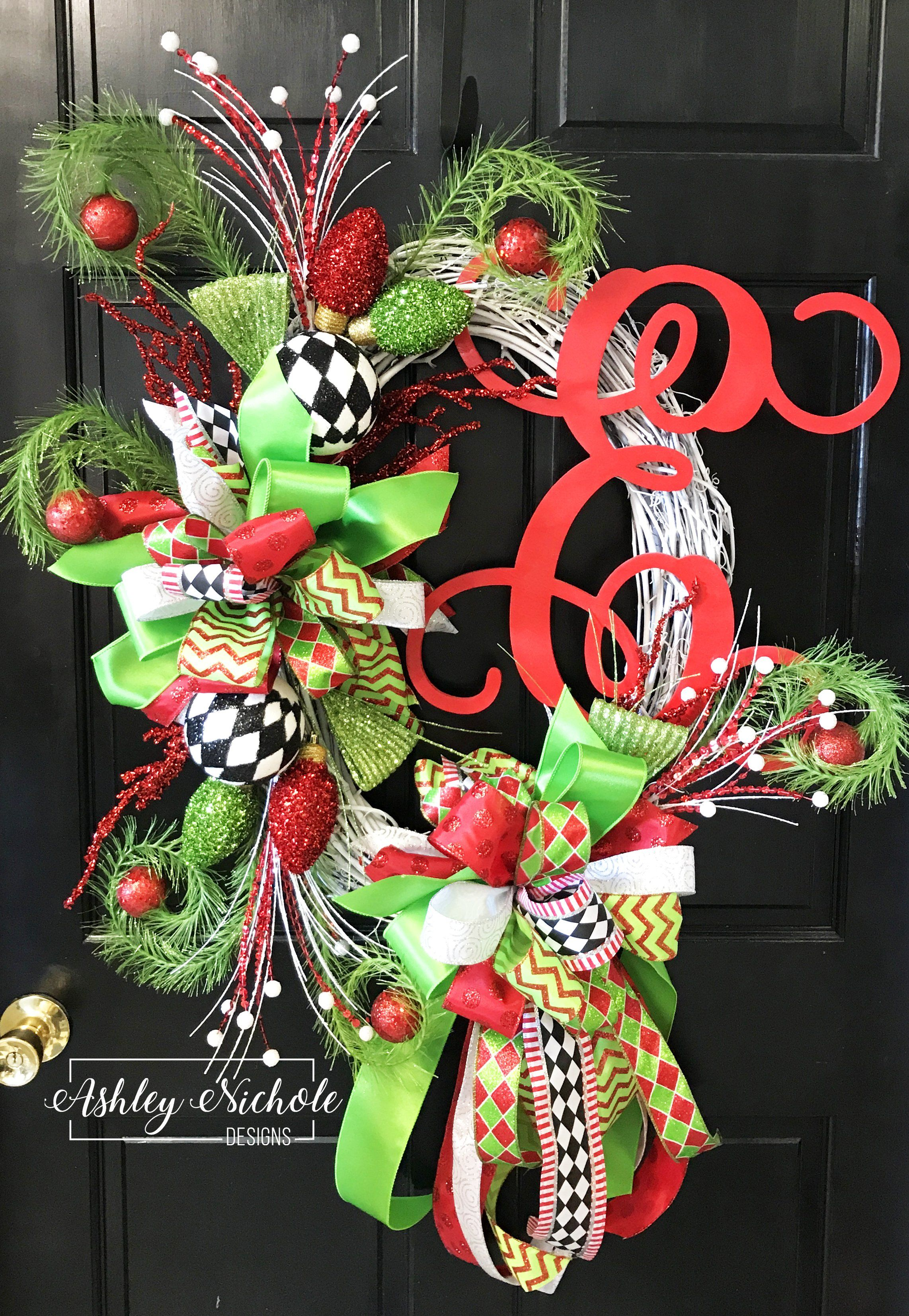 Grinch Inspired Initial Wreath Grinch Inspired Initial