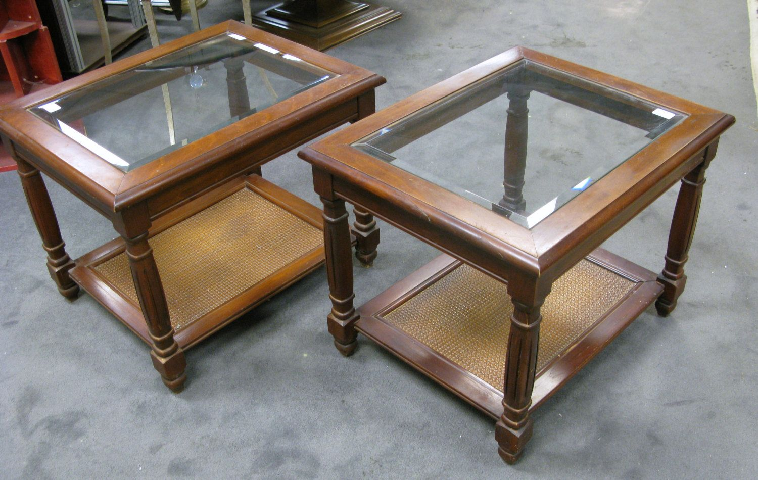 Two Mersman Side End Tables Beveled Glass Top Wicker Bottom Shelf Cherry Wood Cherry Stained Glass End Tables Glass Top End Tables Wood End Tables [ 950 x 1500 Pixel ]