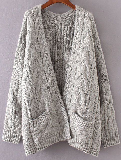 Grey Drop Shoulder Cable Knit Cardigan With Pockets -SheIn ...
