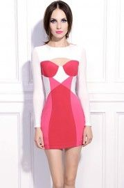 Zippered Cut-out Pink Dress #Romwe