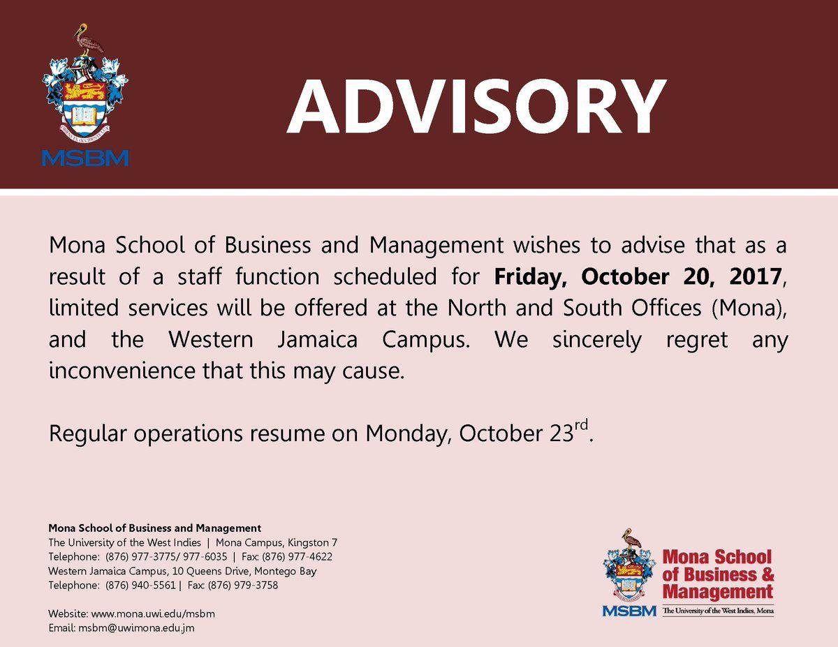 MSBM Advisory Jamaica, Business school, Management