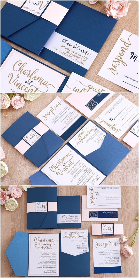 Blush and Navy Wedding Invitation Suite, Navy and Gold
