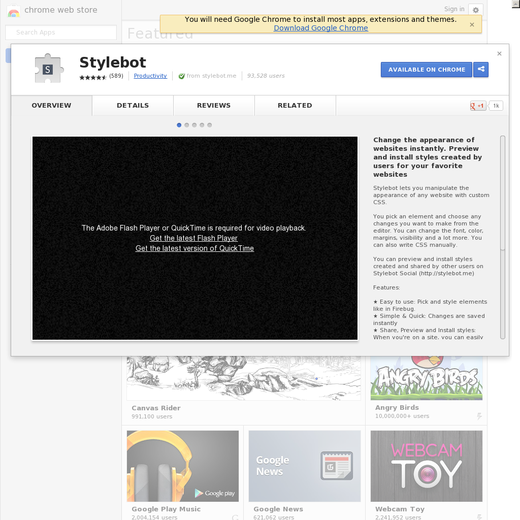 Stylebot: A quick way to preview Google fonts and other CSS