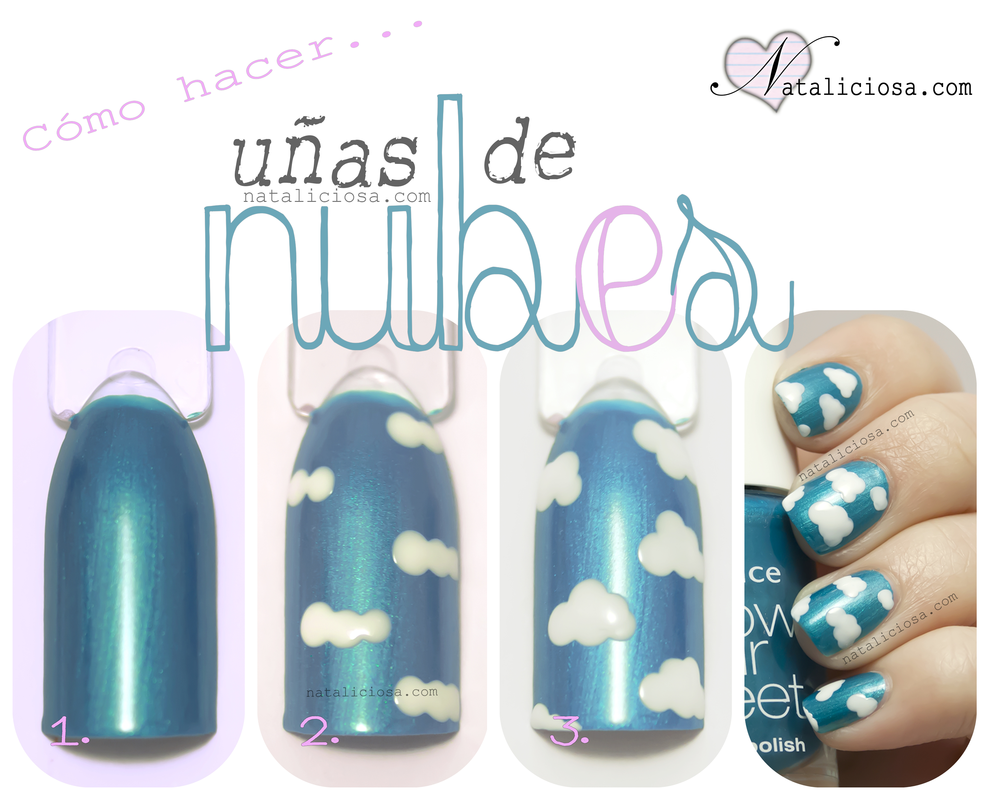 tutorial como hacer unas uñas pintadas con nubes para verano Nataliciosa.com