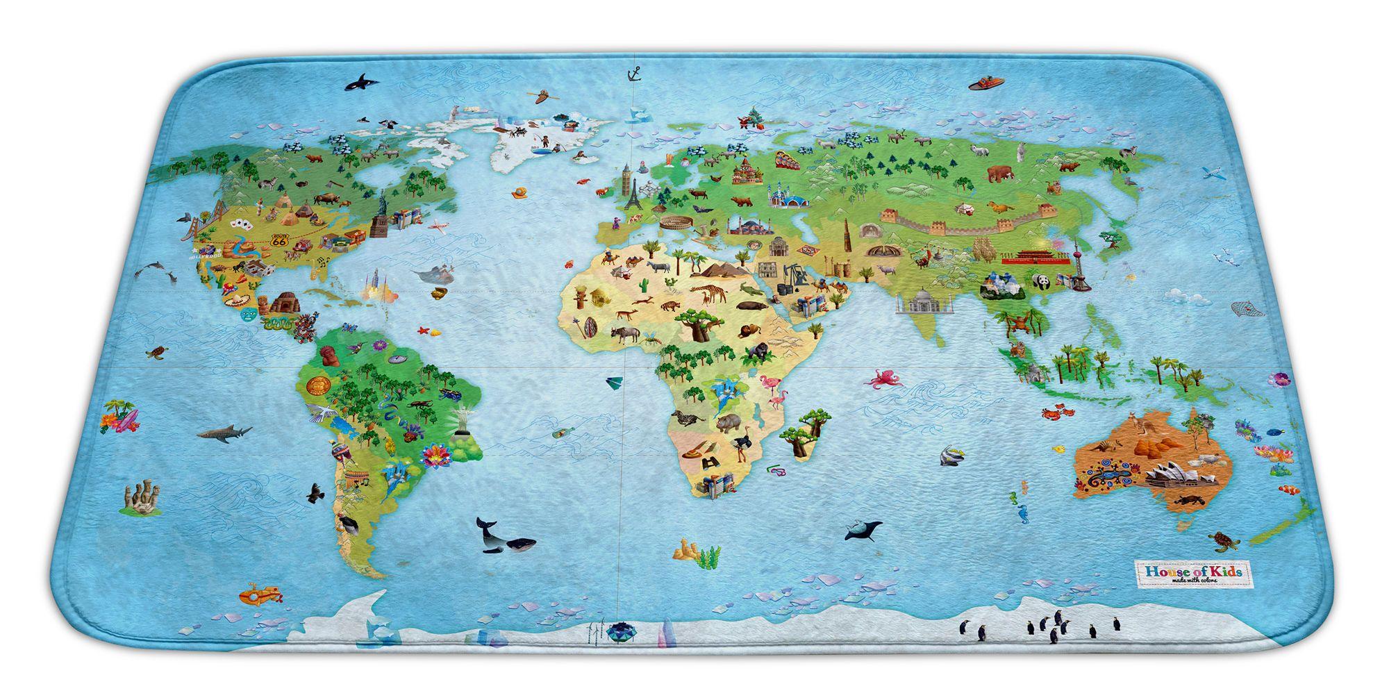 Dywan Dziecięcy Mapa świata Supermiękki Pluszowy Wyjątkowa