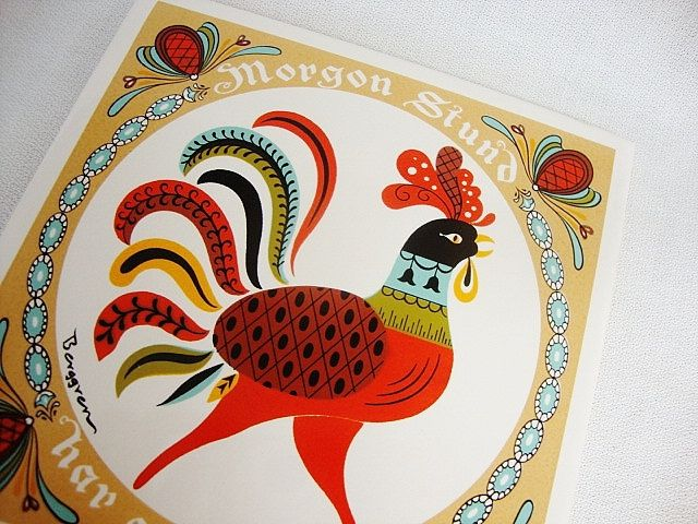 Almost bought this, but I snoozed and losed :(  vintage berggren swedish rooster tile trivet 1965. $10.00, via Etsy.