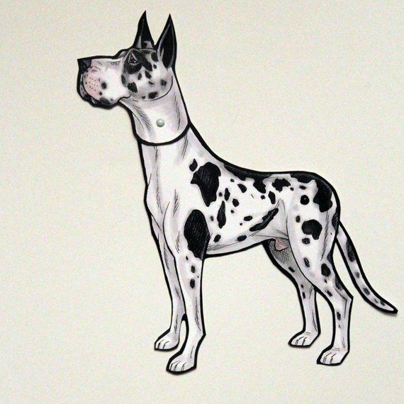 Great Dane Articulated Paper Doll Gift Tag Or Magnet Paper