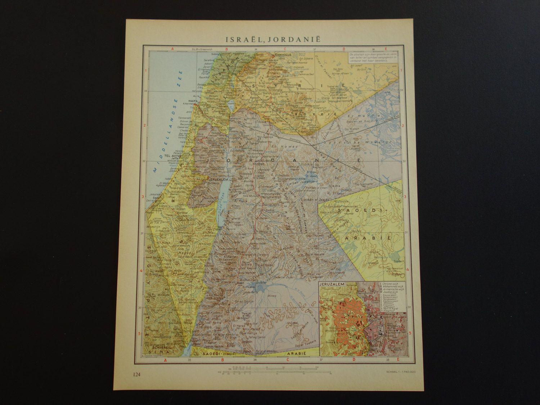 Asia Old vintage map of Israel Jordan