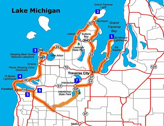 Pure Michigan Fall Color Tour Map Traverse City Northport