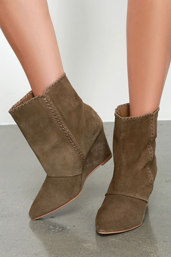 f30a54ad8da Charles by Charles David Naya Tobacco Brown Suede Wedge Booties at  Lulus.com!