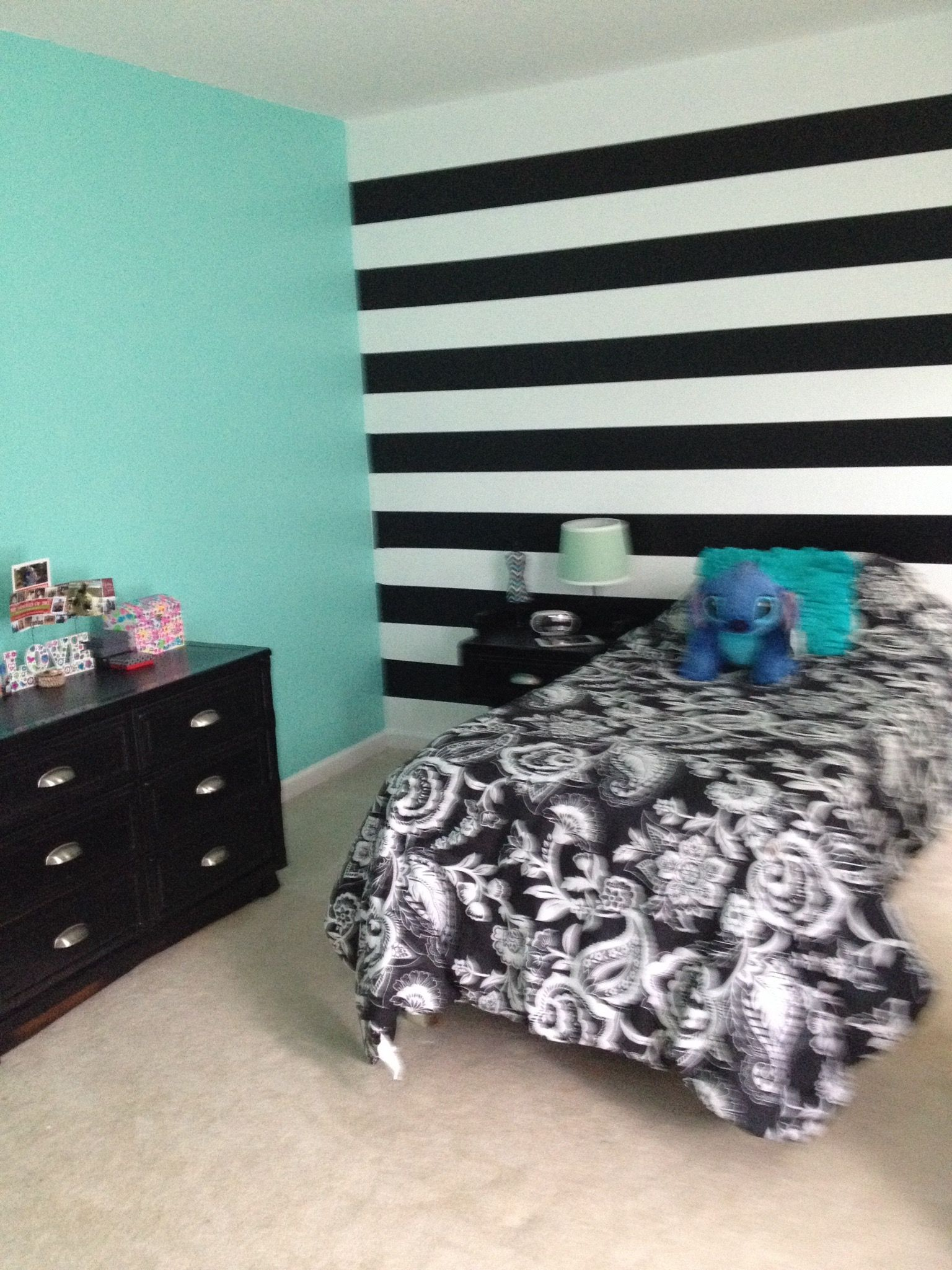 Turquoise On Three Walls Black And White Horizontal Stripe On One Accented With Black White And Sha Striped Walls Bedroom Striped Accent Walls Teal Bedroom