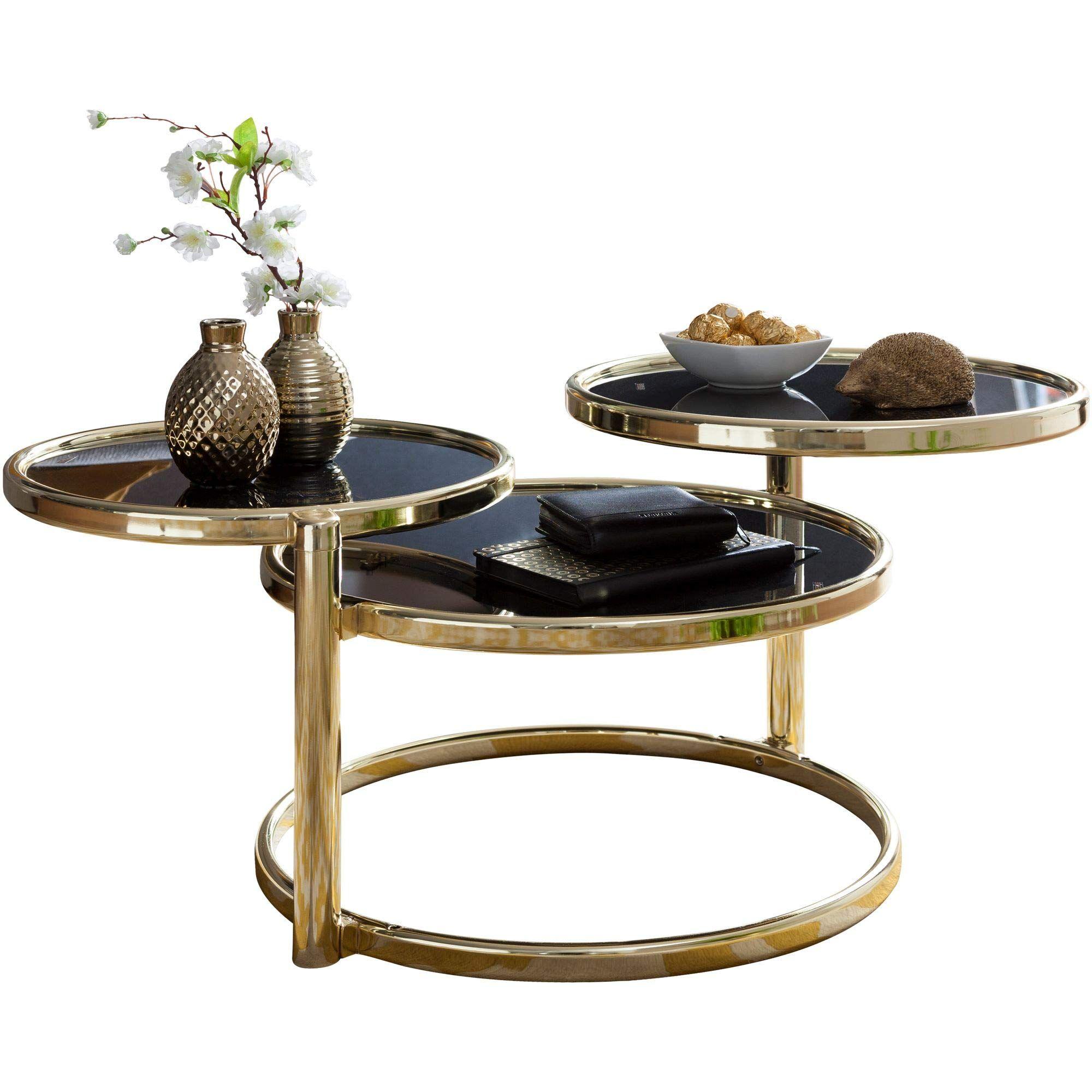 Finebuy Couchtisch Sina Mit 3 Tischplatten Schwarz Gold 58 X 43 X