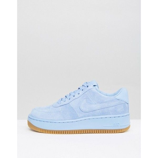 20c0f7511ba Nike Air Force 1 Upstep Premium Trainers In Blue Suede ( 110) ❤ liked on