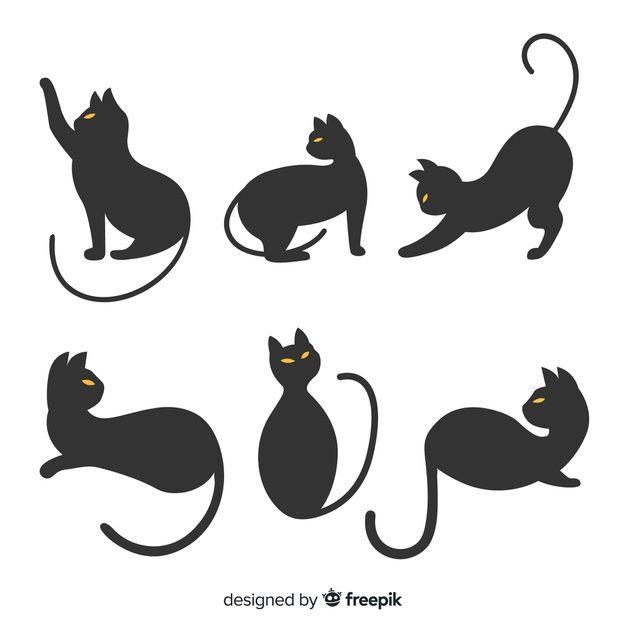 Descarga Gratis Dibujado A Mano La Silueta De Halloween Del Gato En 2020 Siluetas De Halloween Libre De Vectores Manos Dibujo