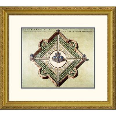 "Global Gallery 'Arcis Uraniburgi' by Joan Blaeu Framed Graphic Art Size: 28.13"" H x 32"" W x 1.5"" D"