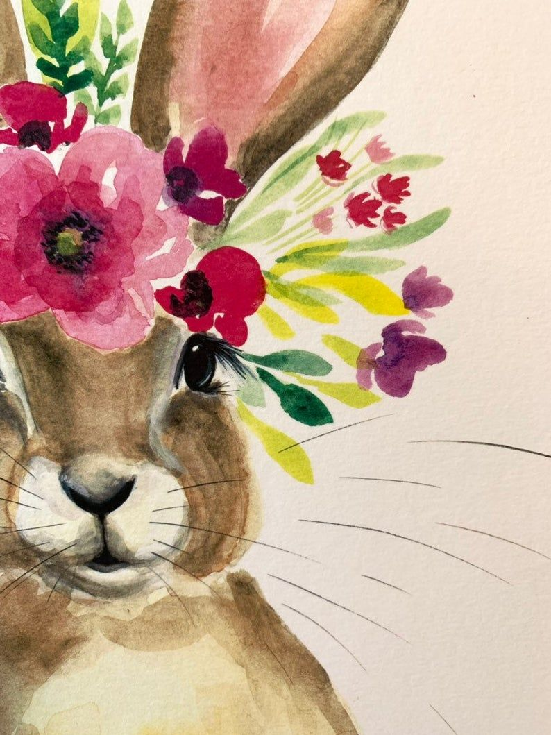 Floral Honey Bunny Watercolor PRINT | Etsy