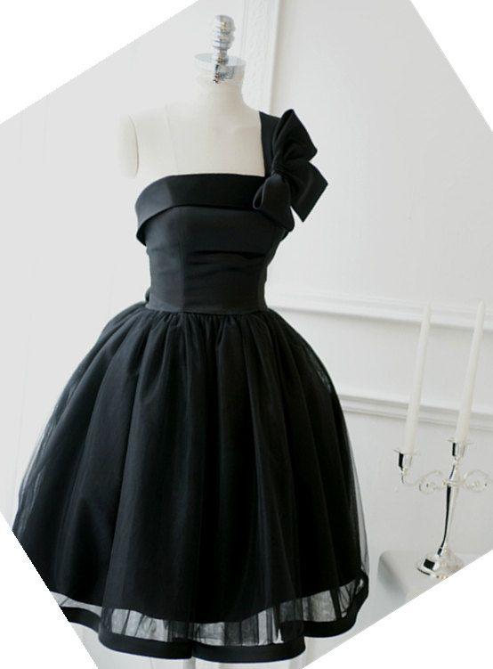 Cheap Ball Gown One Shoulder Black Short Prom Dress