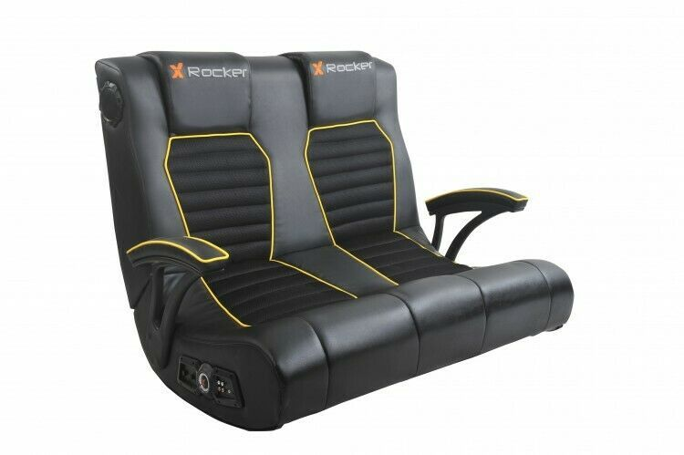 Gaming chair yellow head to head 2 seater rocker with 2