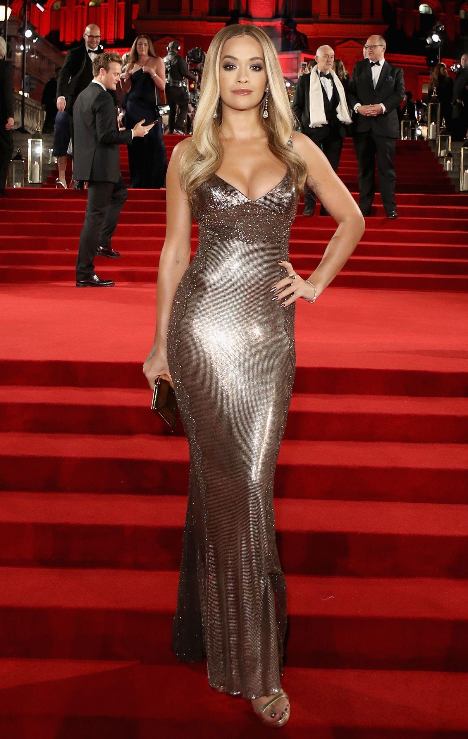 661e7ad9f7a5 Rita Ora turns heads in figure hugging metallic dress   Celebrities ...