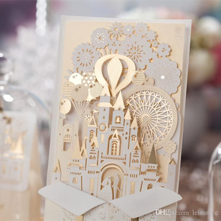 2015 NEW 3D Castle Wedding Invitations Cards