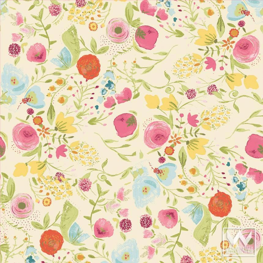 floral flower removable wallpaper vintage shabby chic designs by rh pinterest com