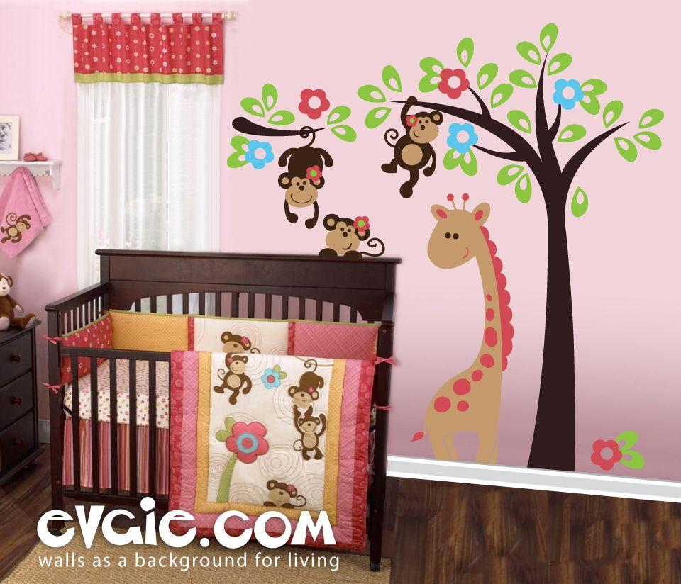 Monkeys on the Tree – Nursery Safari Wall Decals – evgieNev | ideas ...