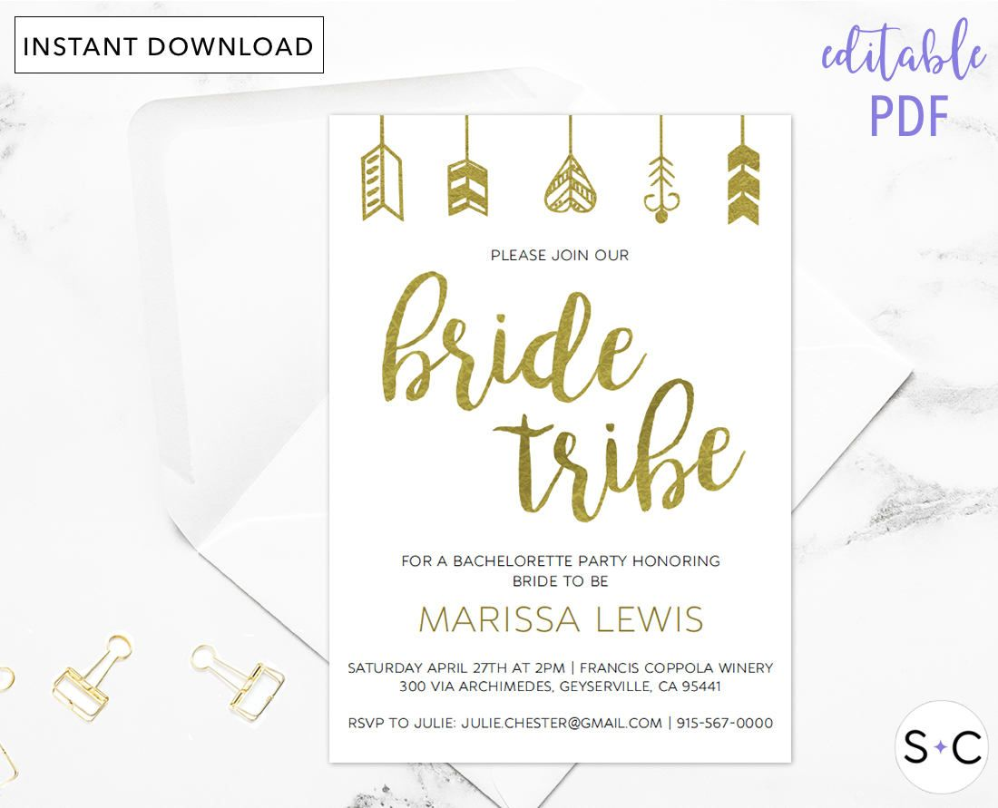 Gold Bride Tribe Bachelorette Invitation Bachelorette Party