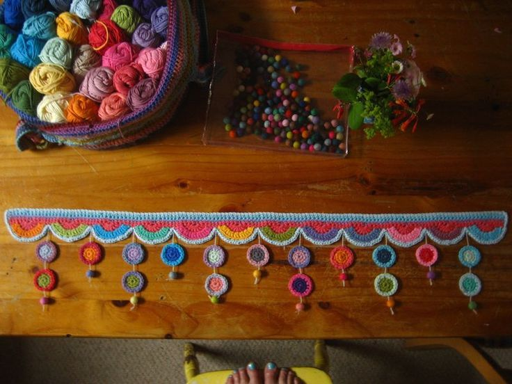 Window Pelmet Attic 24 How About Something Like This On A Tension Curtain Rod Wall To Wall In The Dinnin Crochet Decoration Crochet Garland Crochet Edging