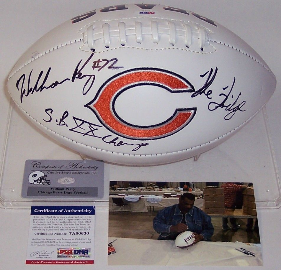 wholesale dealer 96cec 3e4c7 William Perry Autographed Hand Signed Chicago Bears Logo ...