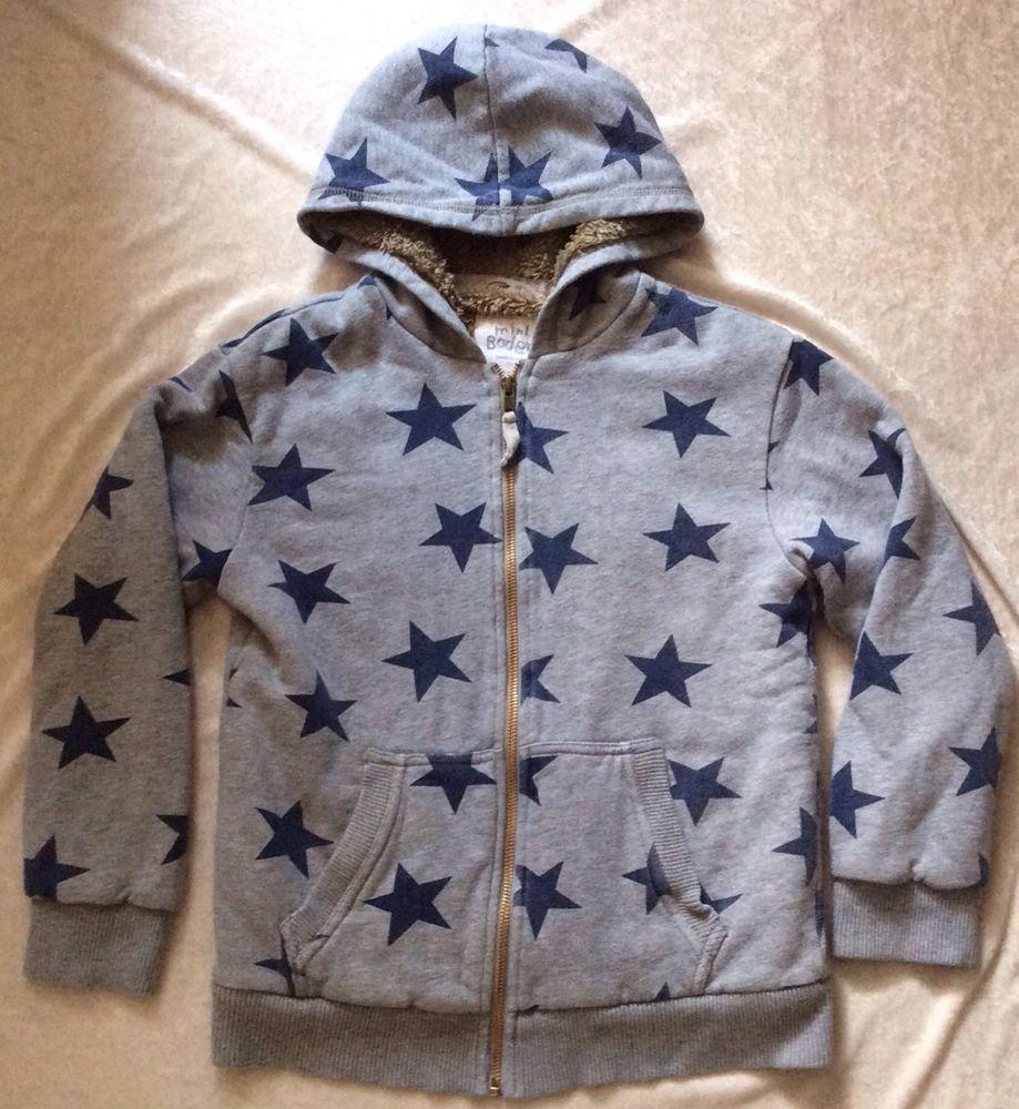 2b609e4e7ee86 Mini Boden 9-10 Shaggy Hoodie Star Pattern Navy Blue Grey Warm Sweatshirt # MiniBoden #hoodie #Everyday