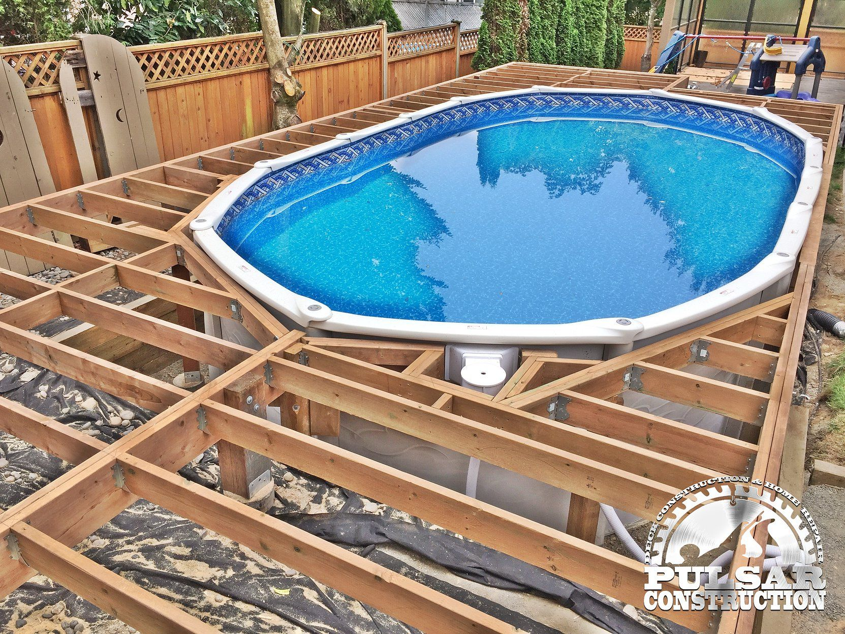 Above Ground Pool Deck Framing Outdoor Wooden Pool Deck Kits