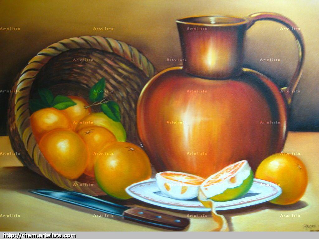 Cesta, laranjas e jarro                                                                                                                                                                                 Mais