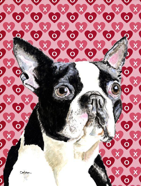 Boston Terrier Hearts Love Valentineu0027s Day 2 Sided Garden Flag