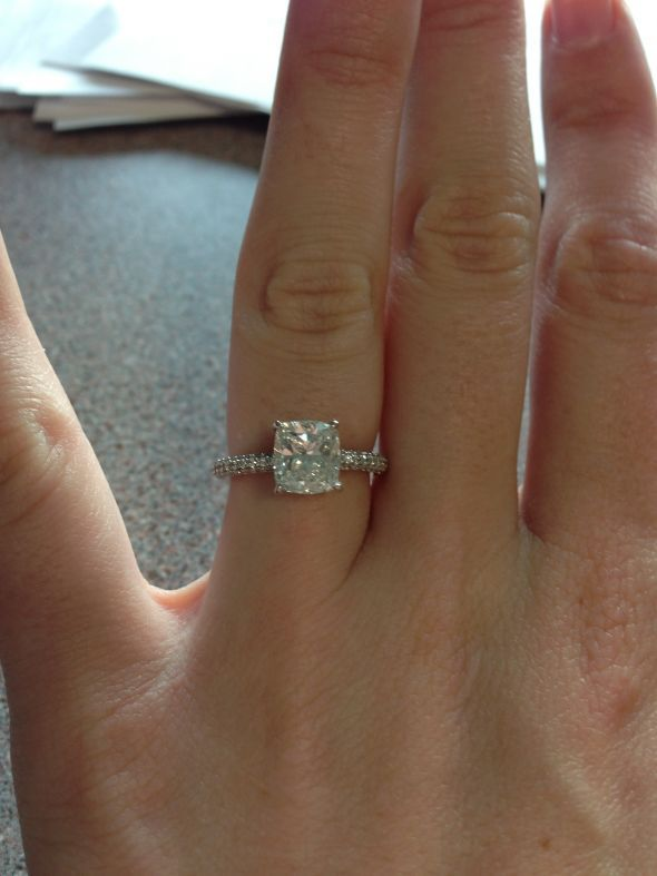 Cushion cut engagement ring post you photos Weddingbee Boards