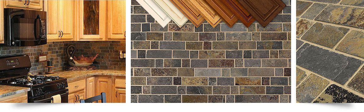Multi color slate mosaic Kitchen backsplash tile from Backsplash.com ...