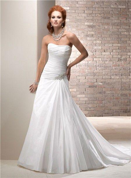 Civil Simple A Line Strapless Taffeta Wedding Dress With Crystal Corset Back