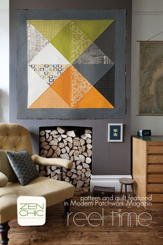 wouldn't my quilt made from the REEL TIME collection be a perfect fit for this wall ? the quilt and a pattern are featured at MODERN PATCHWORK MAGAZIN,