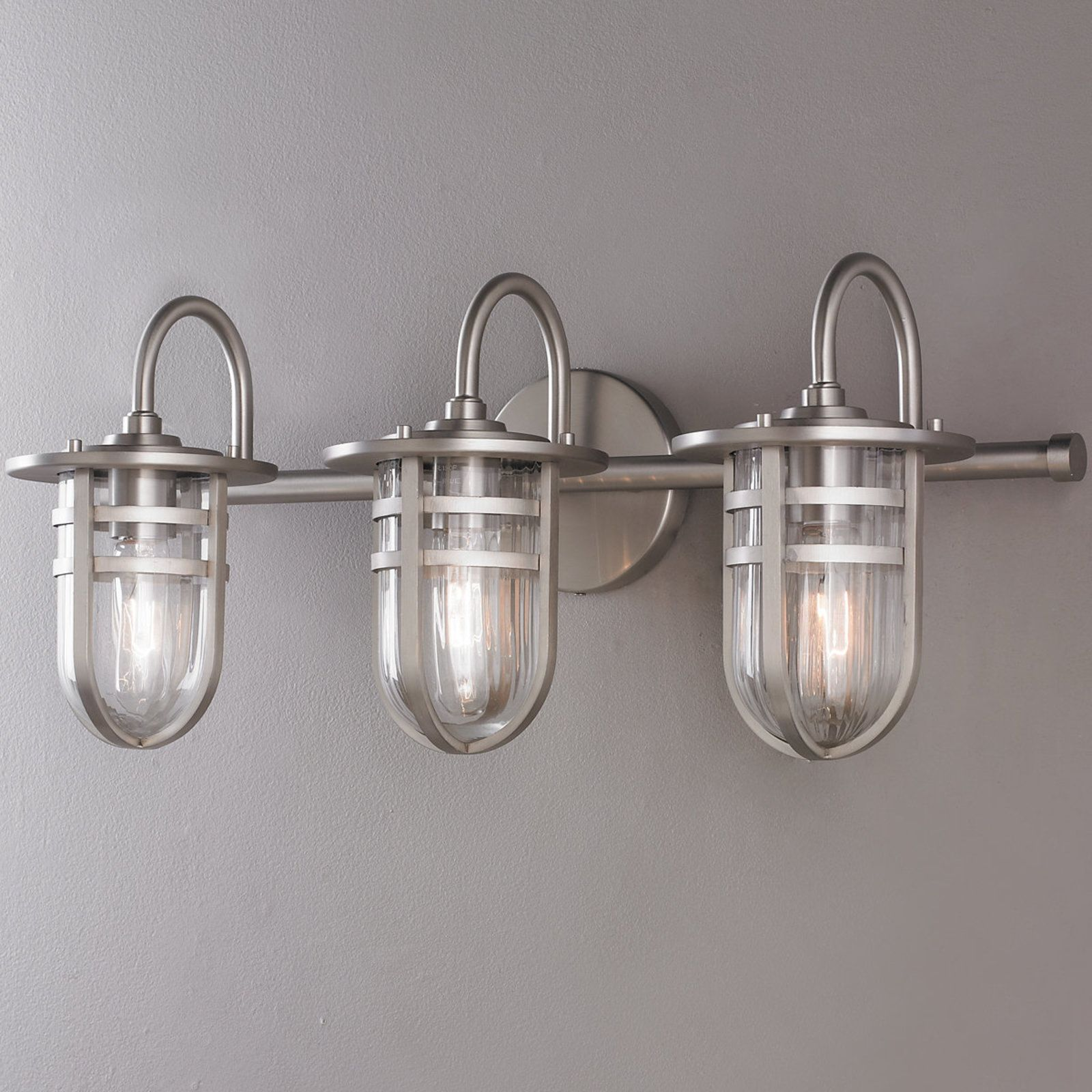 interesting bathroom light fixtures%0A Clear Ribbed Glass   Bath Light