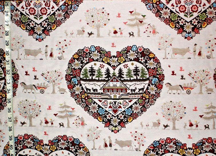 Heart fabric Alpine lodge mountain folklore from Brick House Fabric: Novelty Fabric