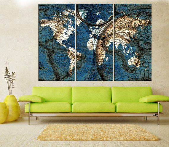 large abstract wall art for living room world map canvas print rh pinterest com