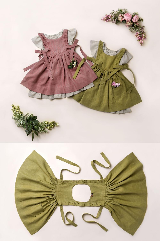 Linen Pinafore | Girls Linen Apron Dress | Chartruese Dress | Pink Dress | Classic Dress