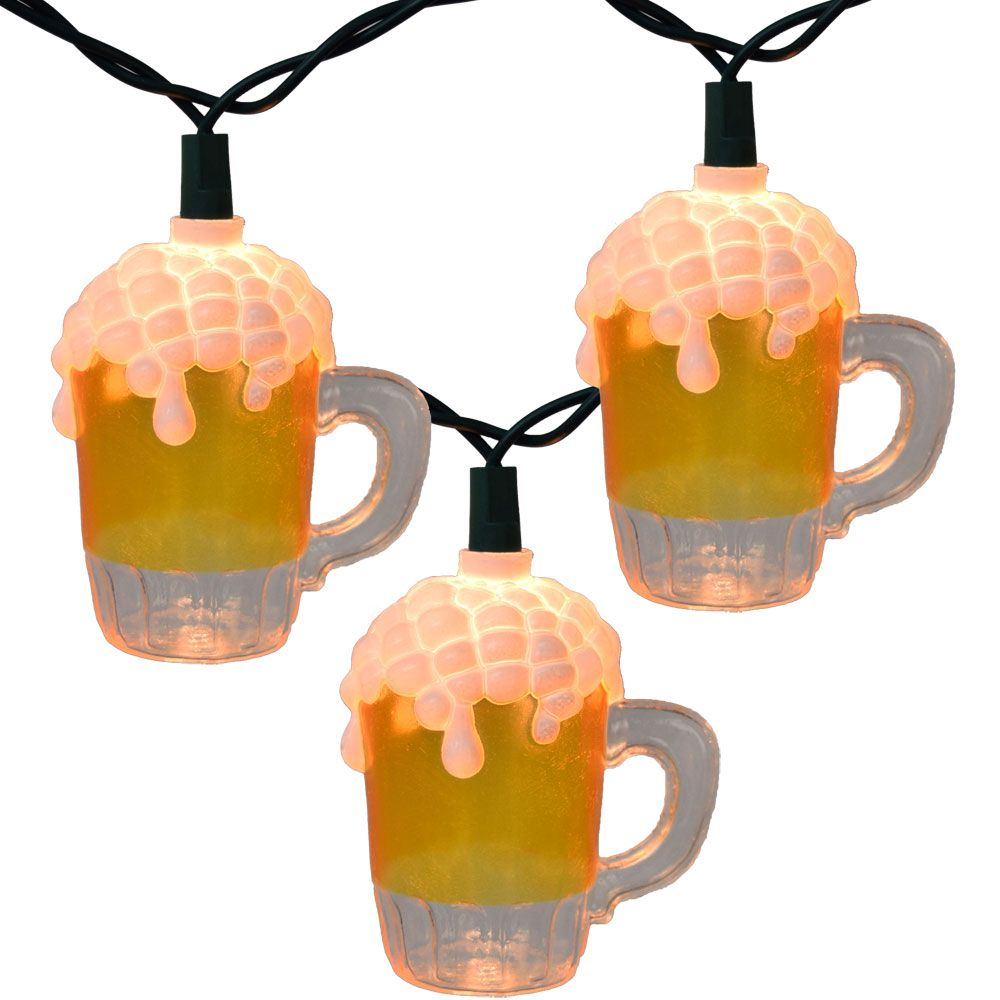Beer mug party string lights ul0565 drink lights ideas pinterest hang these festive beer mug string lights at beer gardens bars or your outdoor patio area light set features 10 beer mug light covers on a ft green wire aloadofball Gallery