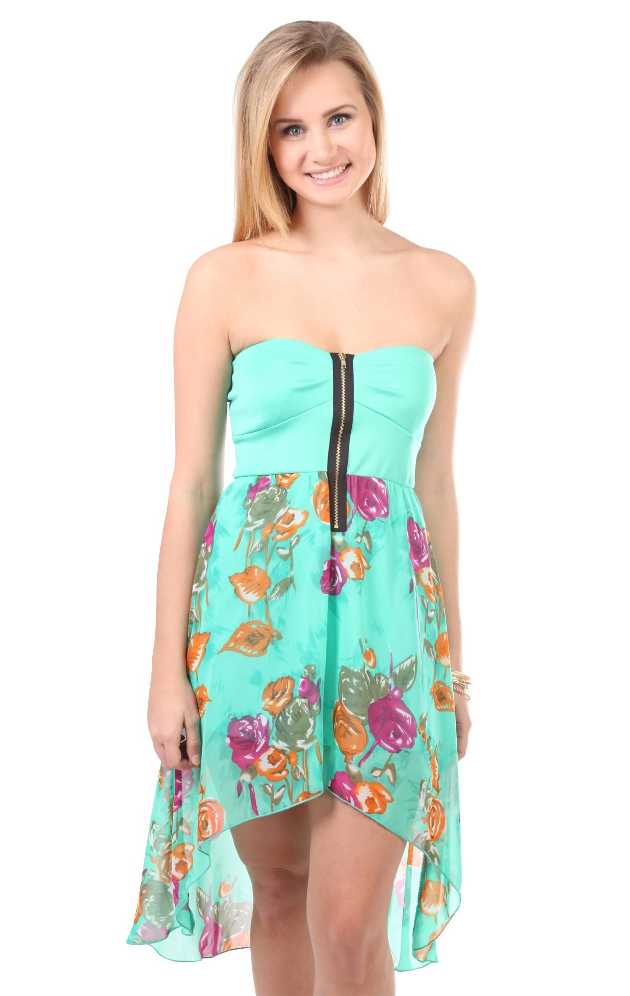 Deb Shops #mint zip front bra bodice #floral printed high low #dress ...