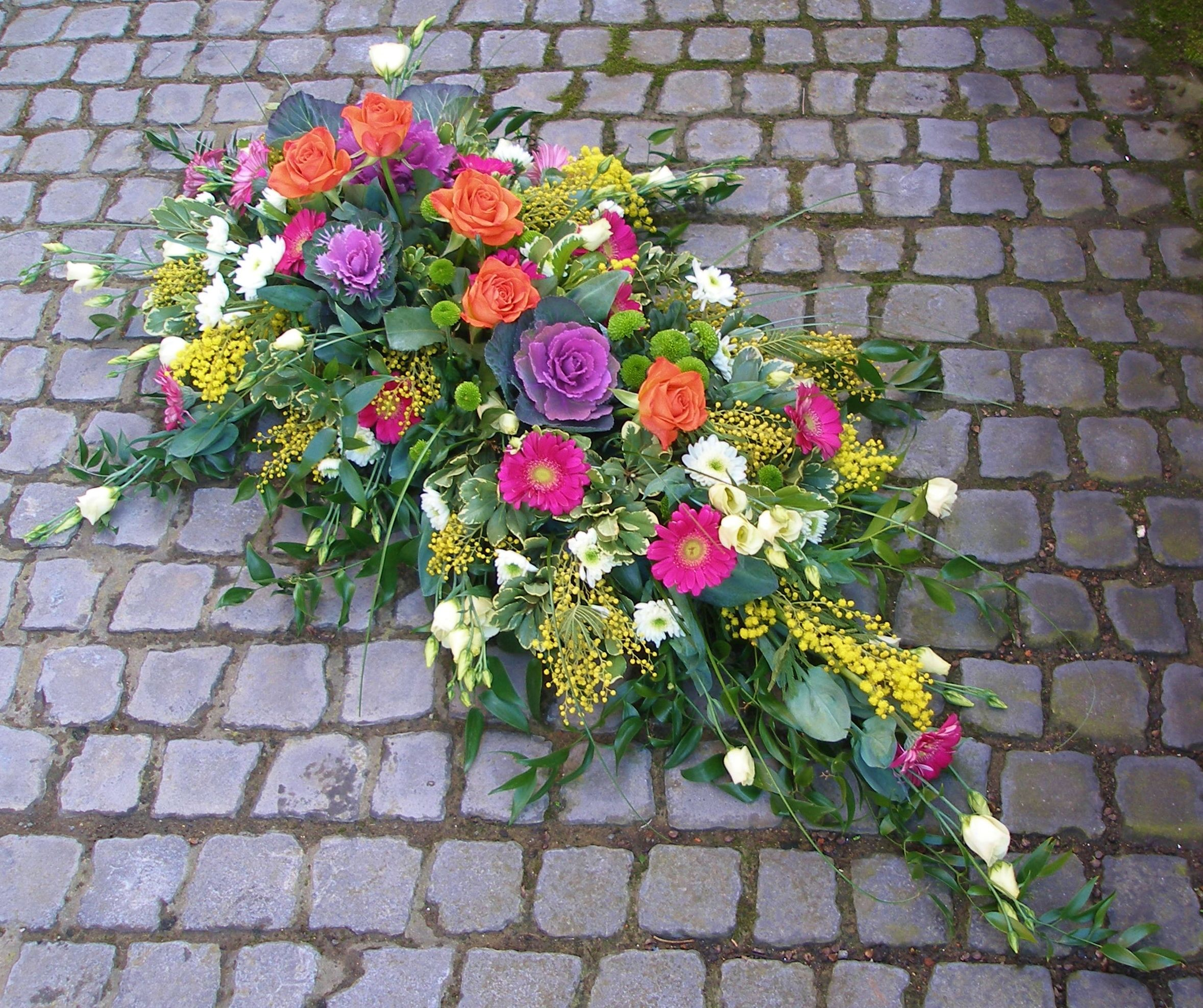 Beautiful Vibrant 5 Foot Coffin Spray By Rockingham Flowers