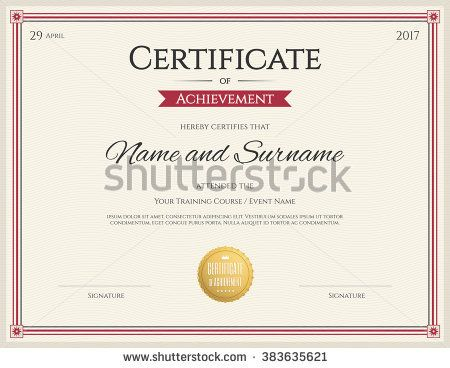 Certificate template in vector for achievement graduation - cooking certificate template