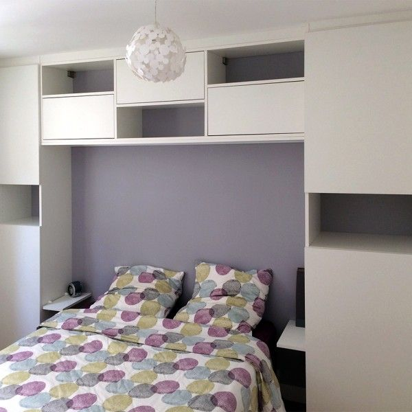pont de lit en 160cm en m lamin blanc pour l 39 agencement sur mesure d 39 une chambre troite www p. Black Bedroom Furniture Sets. Home Design Ideas