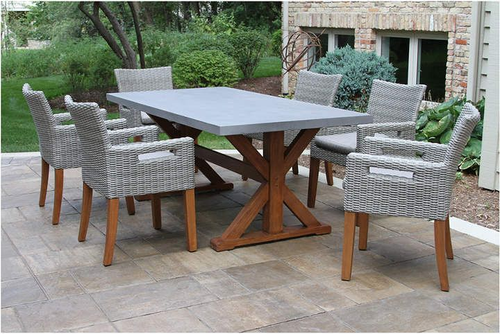 outdoor interiors 7pc eucalyptus dining table products in 2019 rh pinterest com