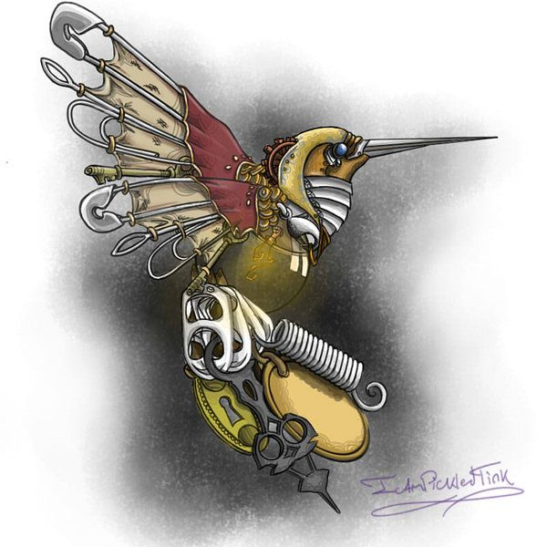 Steampunk Hummingbird Steampunk Tattoo Steampunk Bird Steampunk Artwork