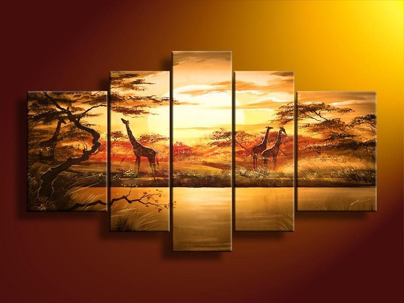 5021 handmade 5 piece landscape oil painting on canvas wall art beautiful African scenery sunset giraffe picture for home decor $56.00
