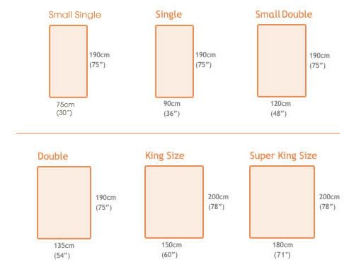 Sheet Sizes Bed Measurements, What Size Is A Double Bed In Centimetres